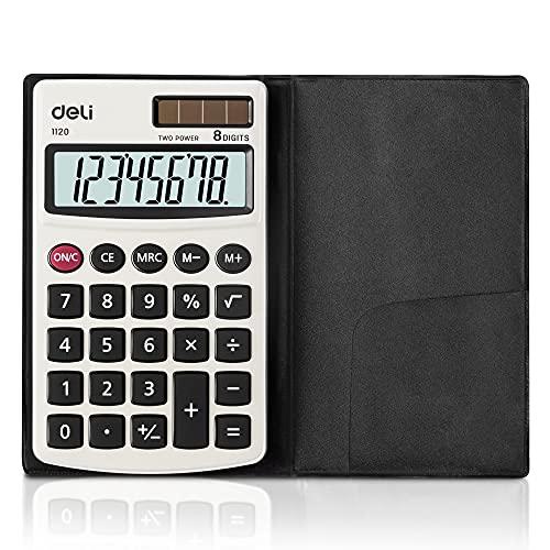 Calculadora, Deli Función Estándar Calculadoras Básicas con Pantalla LCD de 8 dígitos, Batería Solar Dual Power Calculadora de Oficina con Cubierta, Plata