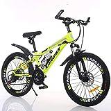 XYUJIE Bicicleta para Niños 20-22-24-26 Pulgadas De Pintura Amortiguadora Dentro De Los Frenos De Disco En Bicicleta De Montaña,Yellow-20inches