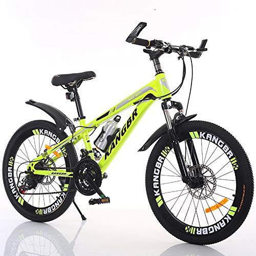 XYUJIE Bicicleta para Niños 20-22-24-26 Pulgadas De Pintura Amortiguadora Dentro De Los Frenos De Disco En Bicicleta De Montaña,Yellow-22inches