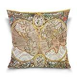 Funda de almohada de algodón con mapa del mundo antiguo del siglo XVII, lados gemelos, funda de almohada con mapa del mundo global, funda de almohada, protector decorativo para el sofá del hotel en ca