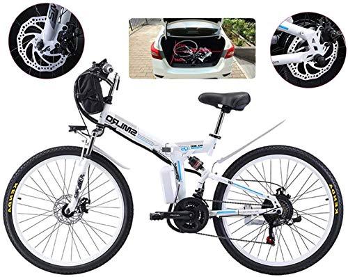 Elektrofahrrad, E-Bike Folding Elektro-Mountainbike, 500W Schnee Bikes, 21 Speed 3-Modus LCD-Anzeige for Erwachsene Full Suspension 26' Räder Elektro-Fahrrad for City Commuting Outdoor Radfahren ,Fa
