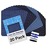 Iron on Patches for Clothing Repair 20PCS, Denim Patches for Jeans Kit 3' by 4-1/4', 4 Shades of Blue Iron On Jean Patches for Inside Jeans & Clothing Repair