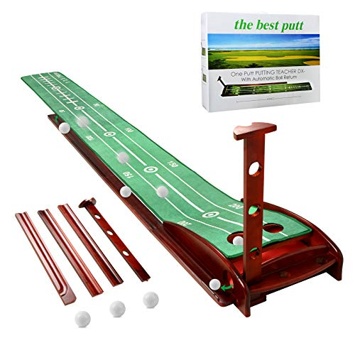 ICECORAL Indoor Golf Putting Green Mats with Auto Ball Return System, Crystal Velvet Mat and Solid Wood Base, Mini Golf Game Practice Equipment and Golf Gifts for Men Women Home Office Backyard