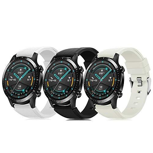Pack de 3 pulseras de 22 mm compatibles con Huawei Watch GT 2 / Samsung Galaxy Watch 46 mm / Gear S3 correa de reloj de silicona suave, cierre rápido, repuesto transpirable DE71003 (color 1-3)