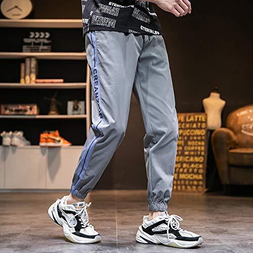 haochenli188 Pantalones Harem Negros De Jogger para Hombre, Pantalones Deportivos con MúLtiples Bolsillos, Ropa De Calle, Monos De Hip-Hop Informales, XXXL Gris