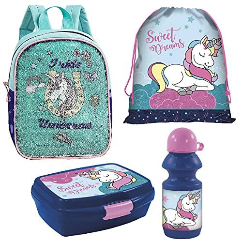 Unicornio/Sirena, juego de 4 piezas, diseño reversible con fiambrera, botella de agua y bolsa de deporte, diseño de arcoíris Be Magical