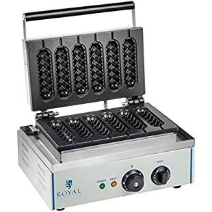 Royal Catering - RCWM-1500-S - Stick Waffle Maker - 1500 Watt - for up to 6 Stick Waffles - also suitable for corndogs
