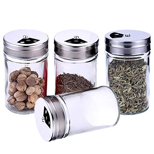 Botes para especias, 4 botes transparentes para especias, tarros de cristal, dosificadores de especias con 3 orificios de ajuste, ideal para la cocina, la sala, pimienta, té, hierbas o especias