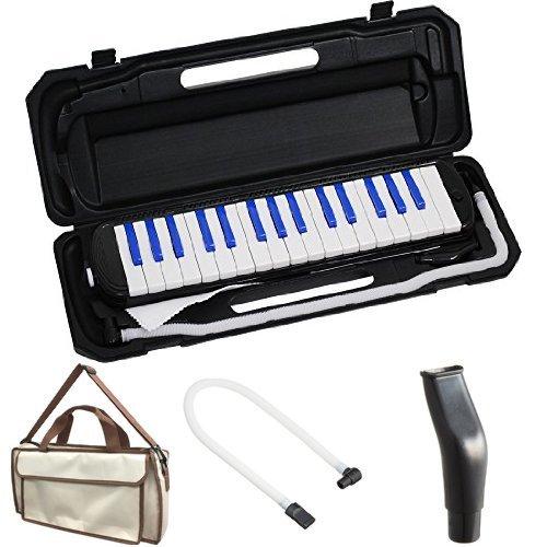 KC 鍵盤ハーモニカ (メロディーピアノ) ブラック/ブルー P3001-32K/BKBL + 専用バッグ[Cappuccino] + 予備ホース + 予備吹き口 セット