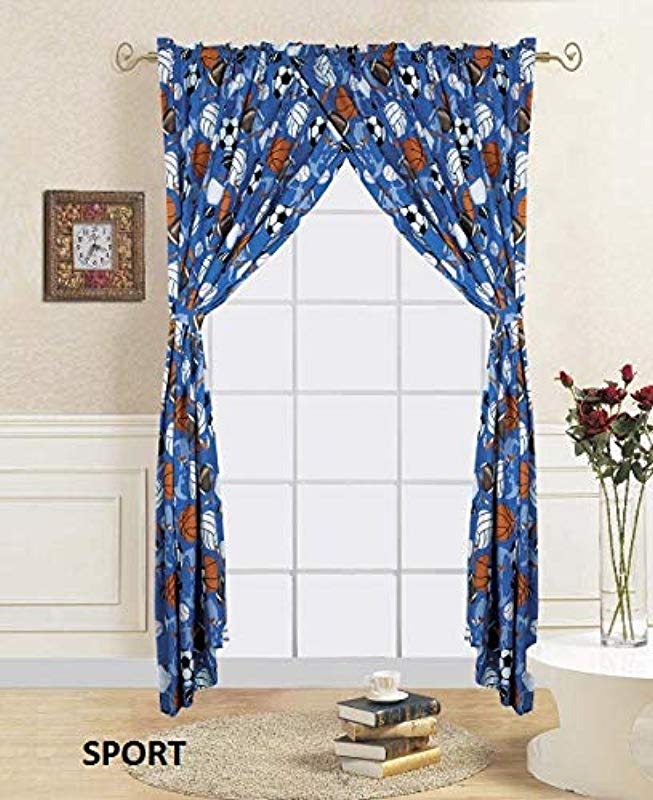 Sapphire Home Kids Window Curtain Panels W Tie Backs For Boys 2 Panels Sports Balls Volleyball Blue Window Curtain For Boys Boys Kids Room D Cor Sports Curtains