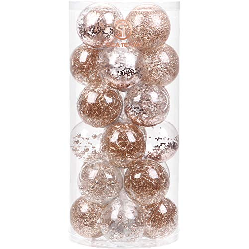 Sea Team 70mm/2.76' Shatterproof Clear Plastic Christmas Ball Ornaments Decorative Xmas Balls Baubles Set with Stuffed Delicate Decorations (24 Counts, Rose Gold)