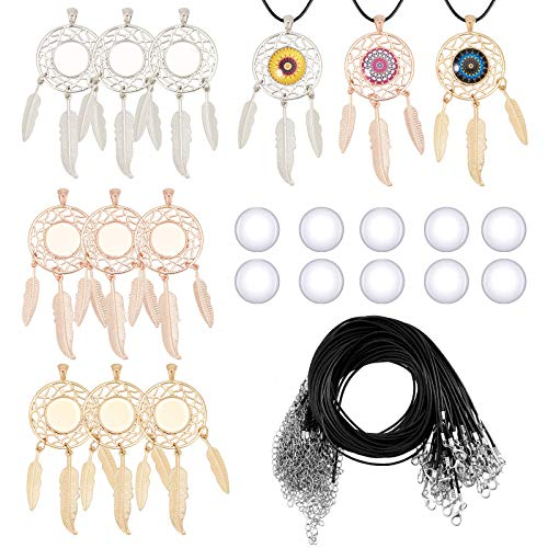 PandaHall 6 Sets Dreamcatcher Charm Cabochon Settings, 3 Colors Dream Catcher Feather Filigree Pendant Blank Trays with 6pcs 14mm Glass Dome and 6pcs Black Necklace Cords for DIY Jewelry Making