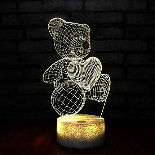 YLSE-night light Lampe 3D StéRéO LED Veilleuse Acrylique Lampe De Bureau 7 Couleurs Ours Motif Lampes De Table De Chevet DéCoration De Chambre pour Enfants Cadeaux Cadeau