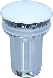 Kibath 215171 Válvula Clic Clac de porcelana blanca universal compatible con la mayoría de lavabos fabricada en latón, Cromo brillo