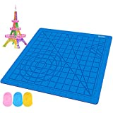 Gnvtntp 3D Printing Pen Mat - 3D Pen Mat for Kids & Adults - Pack with Extra Gift 2 Silicone Finger Caps - Blue 3D Silicone Mat