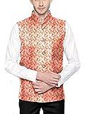 Blacksmith Pink Paisley Motif 5 Button Nehru / Modi Jacket for Men (Pink,40)