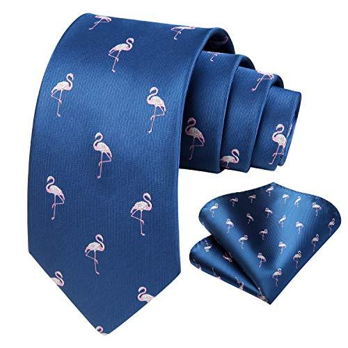 HISDERN Cravatte uomo blu navy e rosa Fazzoletto fantasia fenicotteri Cravatta da matrimonio business elegante cravatta set