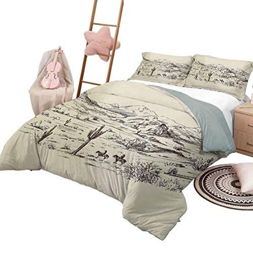 Conjuntos de cama occidental Ilustración del paisaje del salvaje oeste con montañas Plantas del desierto Vaqueros en caballos Juego de funda nórdica Shaggy de lujo Beige Negro con 2 fundas de almohada