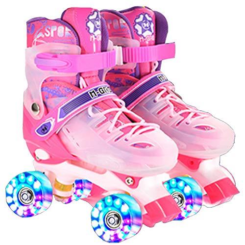 DLBJ Patines de ruedas para niños, ajustables, 4 tamaños, con todas las ruedas iluminadas para niños y niñas, seguros y duraderos, para niños, perfectos para principiantes.