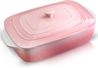 Joyroom Porcelain Covered Rectangular Casserole Dish, Baking dish with Lid for Dinner, Kitchen, 9 x 13 Inches, Banded Coll...