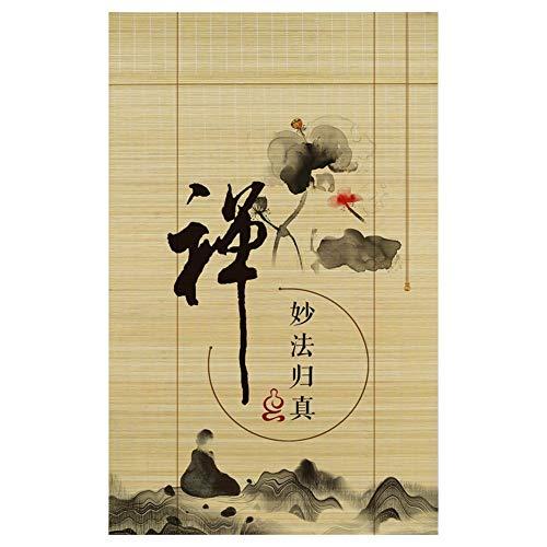 CHAXIA Persiana De Bambú Enrollable Reservar Habitación Casa Club Zen Exquisito Impresión Pantalla Decoración De Fondo, 3 Estilos, Multi-tamaño, Personalizable (Color : C, Tamaño : 150X160cm)