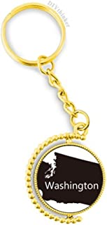 DIYthinker Men's Washington The United States Map Metal Key Chain Ring Golden Keyholder Multicolor