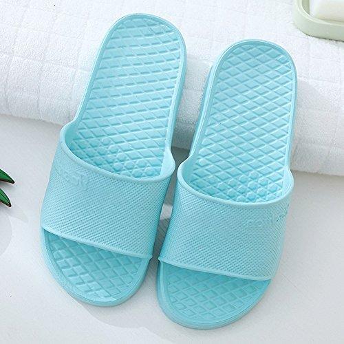 CWJDTXD Sommer Hausschuhe Mann-Schaumduschsandelholze und -pantoffel des Sommers Innenhomosexuelle drücken starke untere weiche Unterseite des Bodenlicht-Schuhes Frauen, 40, hellblau aus