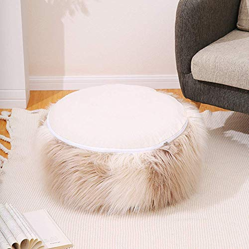 MIAO Inflatable Stool Sofa Home Decoration Portable Chair Long Plush Air Filled Comfort Seat Wear Shoes Stool Footrest + Free Inflatable Pump (55cm x 25cm, Beige)