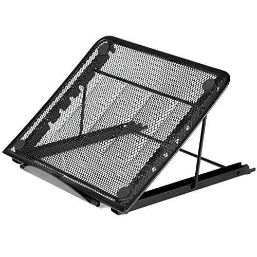 Tuneway Mesh Ventilated Adjustable Laptop Stand for Laptop/Notebook/Tablet and more (Black)