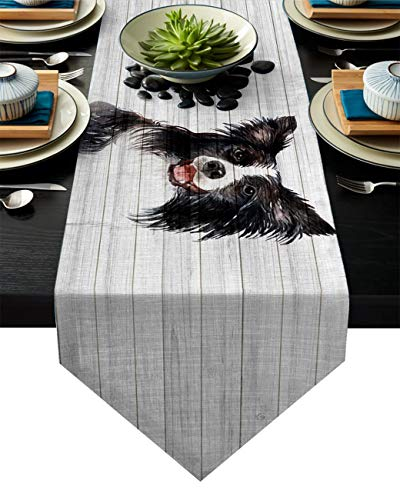 Cotton Linen Table Runner Border Collie Best Dog Ever 18x72 Inch Burlap Table Runners for Party Wedding Dining Farmhouse Outdoor Picnics Table Top Decor