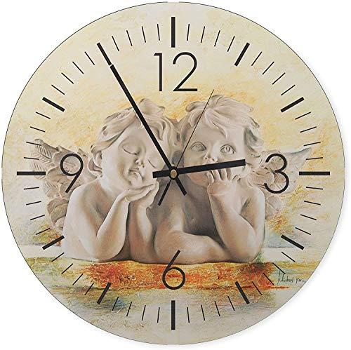 Feeby, Wanduhr, mehrfarbige Deco Panel Bild mit Uhr, Durchmesser 40 cm, Engel, SKULPTUREN, Kunst, GRAU, BRAUN