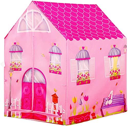 YQZ Teepee Tent for Kids, Flower House Princess Castle Girls City Garden Pink Tent Kids Playhouse