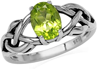 1.32ct. 8X6mm Natural Oval Shape Peridot 925 Sterling Silver Celtic Knot Solitaire Ring