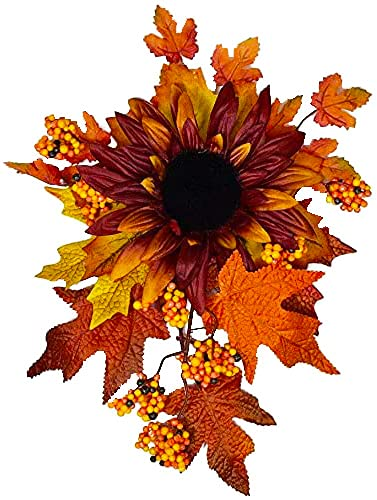 Fall Harvest Swag - 12 inch Swag with Sunflowers, Maple Leaves and Berries