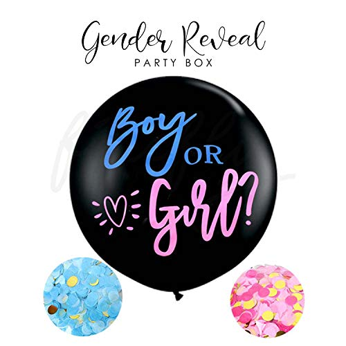 Firefly Gender Reveal Banner Baby Shower with 5 Gold Confetti Balloons Plus Free Garland Decorations Party Decorating Supplies First Birthday Decorations Kids Children (Gender Reveal Balloon)