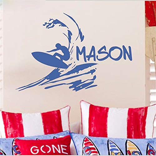 Ajcwhml Ragazzi Nome Personalizzato Decalcomania Spiaggia Adesivo da Parete Vinile Surfista Adesivo Decalcomanie da Surf Bambini Stickers murali per Bambini camere Decor 50x76 cm