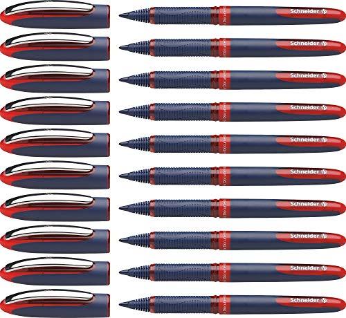 Schneider One Business Tintenroller (Dokumentenecht mit 0,6 mm Strichstärke und Ultra-Smooth-Spitze, Made in Germany) 10er Pack, rot