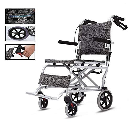 WZB - Wheelchair Klappbarer Manueller Rollstuhl mit Vollgummireifen, Sicherheitsgurt-Armlehnen-Sitz für Einfaches Umsteigen - Ultraleichter Premium-Rollstuhl