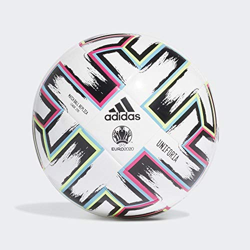 adidas Boys UNIFO LGE J290 Soccer Ball, White/Black/Signal Green/Bright Cyan, 5