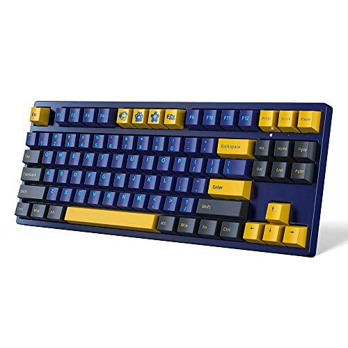 Akko Horizon Teclado ergonómico para Juegos Teclado mecánico para Juegos 87 Teclas con Cable para PC portátil Negro Azul