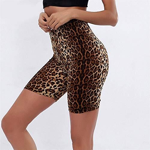 ZMK-720 Sport-Shorts Damen High Waist Shorts Damen Shorts Leopard-Druck-Fitness Sexy (Color : Leopard Print, Size : S)