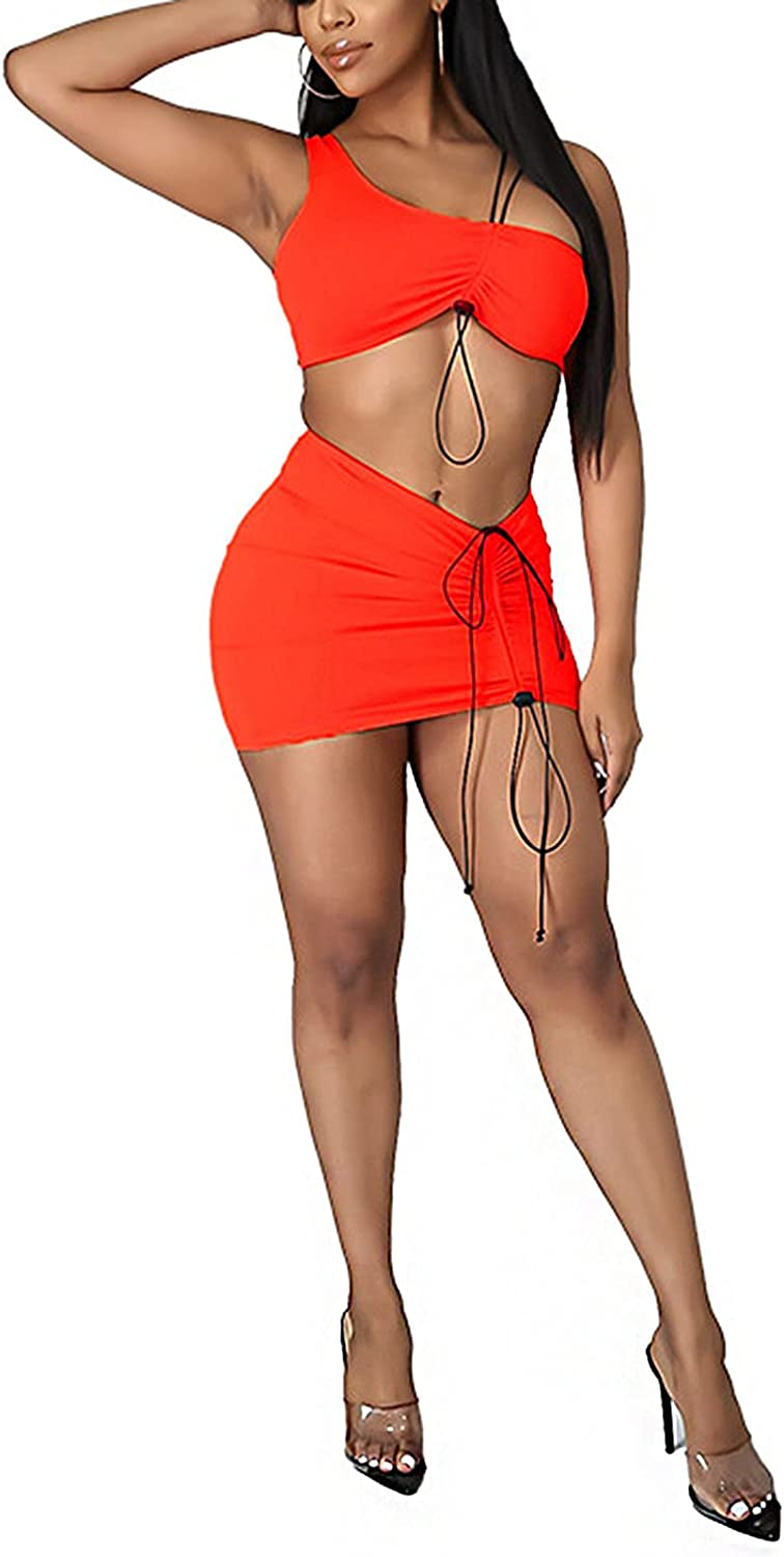 Two Piece Skirt Outfits for Women Sexy Sleeveless Crop Top and Ruched Bodycon Mini Skirt Party Cocktail Dress