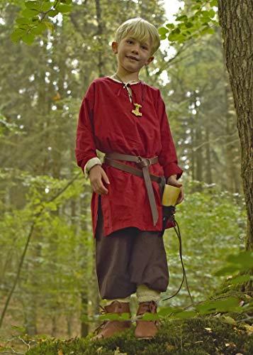 Battle-Merchant Mittelalter Kinder Tunika Arn - Unisex - Baumwolle - Mittelalterkleidung - Wikinger - Pirat - Ritter - Kostüm - Karneval - Fasching - LARP, rot, Gr. 146