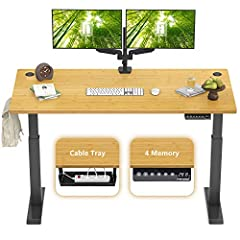 "【ELECTRIC HEIGHT ADJUSTABLE】- FEZIBO Height Adjustable Electric Standing Desk has 4 preset buttons to customize your desired heights from 27.36"" to 46.06""(tabletop included) and memory it with a couple of pressing. 【ELEGANT WORKSPACE】 - The large wor..."