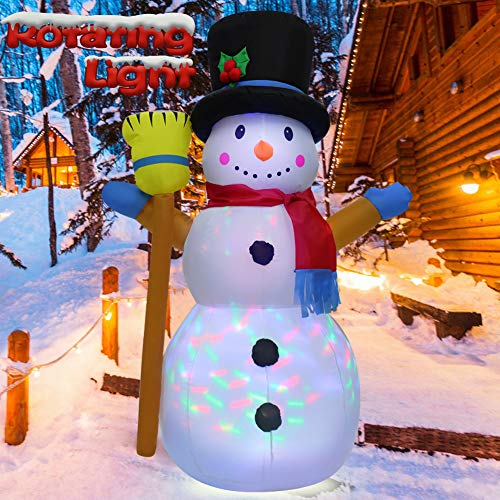 EMUST 4FT Christmas Inflatables Outdoor Decorations, Christmas Inflatables Snowman Yard Decorations, Blow Up Christmas Decorations with Colorful Rotating Lights for Indoor Yard Garden Home Lawn
