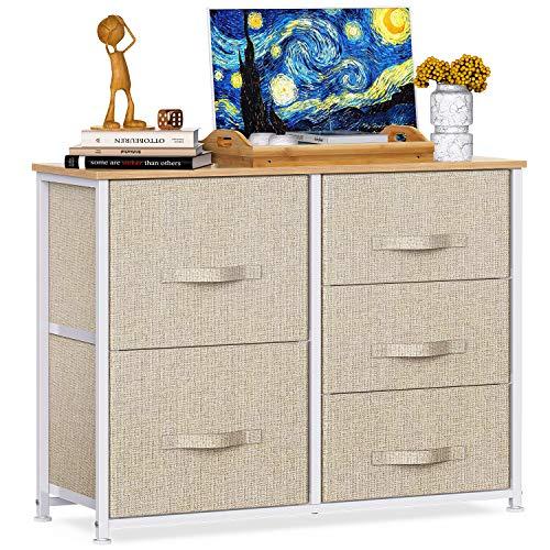 Pipishell Kommode, Schrank mit 5 Schubladen aus Stoff, praktische Aufbewahrungskommode, Schrank für Schlafzimmer, Kinderzimmer, Flur, Beige