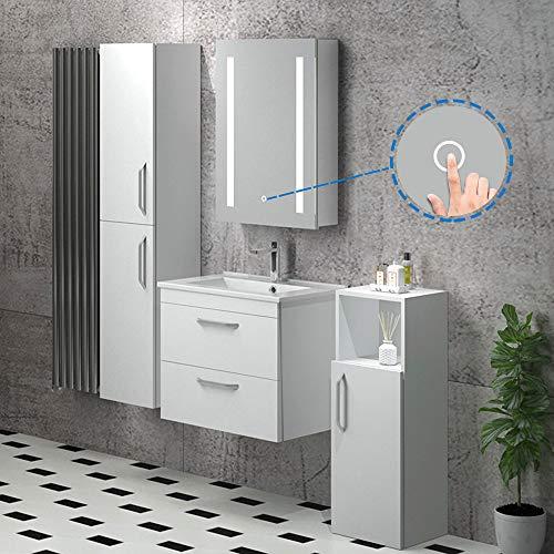 AicaSanitär LED Spiegelschrank mit Steckdose 50×70, 80×60 cm Touch/Infrarot-Sensor Beschlagfrei 3