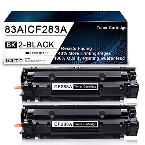 2 Pack Black 83A | CF283A Compatible Toner Cartridge Replacement for HP Laserjet Pro M201n M201dw MFP M225dn MFP M126nw MFP M125r MFP M127fn MFP M128fw Printers Toner Cartridge.