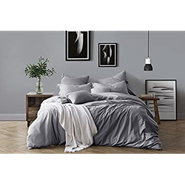 Swift Home 100% Cotton Washed Yarn Dyed Chambray Duvet Cover & Sham Bedding Set, Ultra-Soft Luxury & Natural Wrinkled Look – Full/Queen, Ash Grey