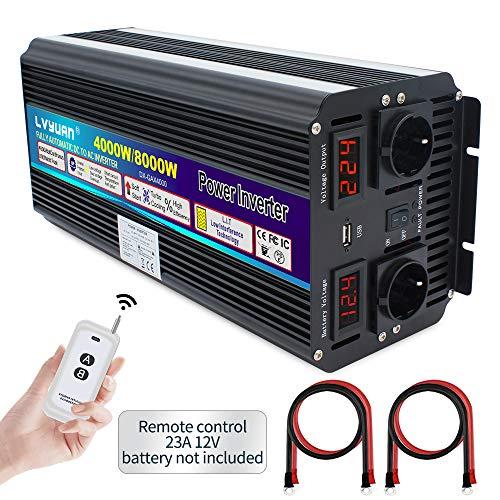Wechselrichter 12V 230V 4000W /8000W Spannungswandler mit drahtloser Fernbedienung, 2 Steckdose 1 USB und LED-Display